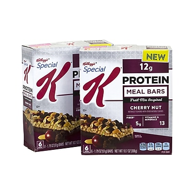 SPECIAL K Protein Meal Bars Cherry Nut Chocolate, 1.79 oz, 6 Count, 2 Pack (295-00090)
