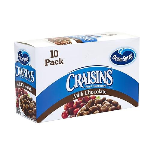 Ocean Spray Craisins, Milk Chocolate, 2 oz., 10/Pack (307-00073)