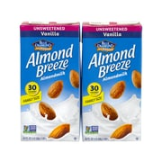 BLUE DIAMOND Almond Breeze Unsweetened Vanilla Almondmilk, 64 fl oz, 2 Pack (307-00081)