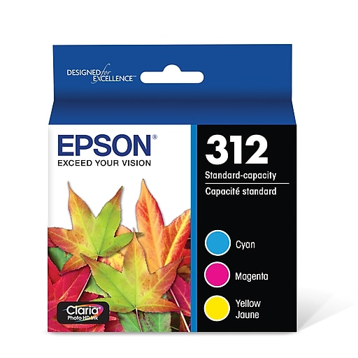 Epson T312 Claria Photo Hi-Definition C/M/Y Color Ink Cartridges, Standard-Capacity, 3/Pack (T312923-S)