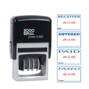 """Cosco® 2000 Plus Self-Inking Economy Message Dater Stamp, Red/Blue, 7/8"""" x 1 3/4"""" (065005)"""