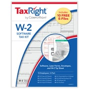 TaxRight™ W2 4-Part for 10 Employees with self-seal envelopes and software with 10 Free EFILE (SC5645ES10)