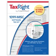 TaxRight™ 1099 Misc. 4-Part for 25 Recipients with self-seal envelopes and software with 10 Free EFILE (SC6103ES25)