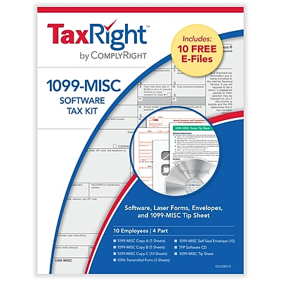 TaxRight™ 1099 Misc. 4-Part for 10 Recipients with self-seal envelopes and software with 10 Free EFILE (SC6103ES10)