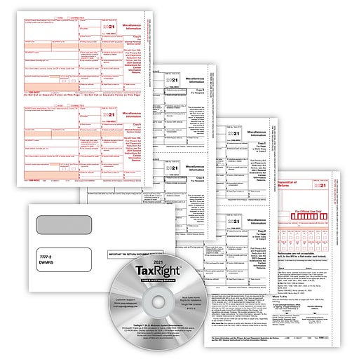 TaxRight™ 1099 Misc  4-Part for 10 Recipients with self-seal envelopes and  software with 10 Free EFILE (SC6103ES10)