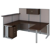 Bush Business Furniture Office in an Hour U Shaped Reception Desk with Storage, Mocha Cherry (OIAH009MR)