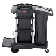 RUBBERMAID EXECUTIVE JANITORIAL CLEANING CART WITH BINS, HIGH-CAPACITY, BLACK (1861428)
