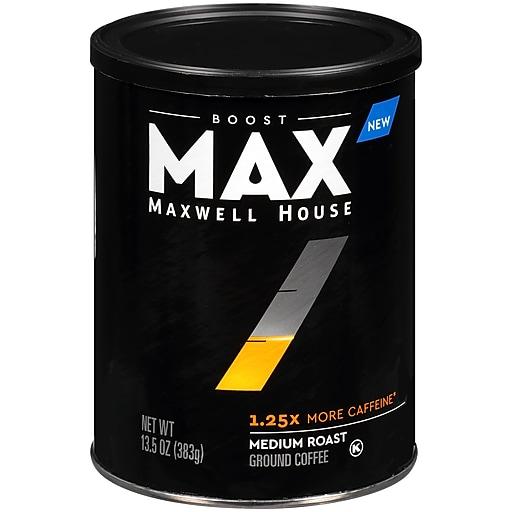 Maxwell House Max Boost 1.25x More Caffeine Medium Roast Ground Coffee , 13.5 oz. Canister (GEN07545)