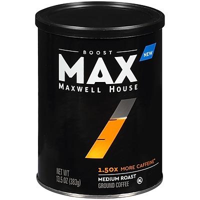 Maxwell House Max Boost 1.50x More Caffeine Medium Roast Ground Coffee,  13.5 oz. Canister (GEN07551)