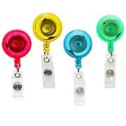 Sicurix Translucent ID Badge Reels Round Belt Clip, Assorted Colors (BAU68894)