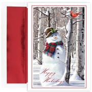 "Snowman with Cardinal Holiday Greeting Card, 5.625"" x 7.875"", 18 Cards with Foil Lined Envelopes (902200)"