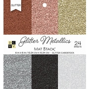 """American Crafts DCWV Cardstock Paper, 40 lbs, 6"""" x, 6"""", Glitter Metallics Solid, 6 Colors/4 Each, 24/Pack (PS006118)"""