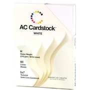 """American Crafts DCWV Cardstock Paper, 80 lbs, 5"""" x 7"""", Solid White, Textured Pack, 60/Pack (71289)"""