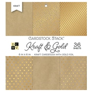 "American Crafts DCWV Cardstock Paper, 6"" x, 6"", Kraft & Gold with Gold Foil, 6 Designs Single-Sided, 36/Pack (500559)"