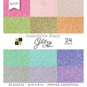 "American Crafts DCWV Cardstock Paper, 6"" x, 6"", Glitzy, 12 Solid Colors/2 Each Single-Sided Stack, 24/Pack (500568)"