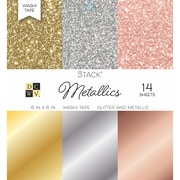 "American Crafts DCWV Cardstock Paper, 6"" x, 6"", Washi Metallics Glitter & Foil Single-Sided Stack, 14/Pack (500553)"