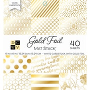 "American Crafts DCWV Cardstock Paper, 6"" x, 6"", White with Gold Foil, Single-Sided Stack, 40/Pack (600141)"