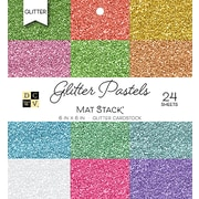 "American Crafts DCWV Cardstock Paper, 6"" x, 6"", Glitter Pastels Solid, 12 Colors/2 Each Single-Sided, 24/Pack (PS006119)"