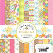 "Doodlebug Double-Sided Paper Pad, Hello Sunshine, 6"" x 6"", 24/Pack (HS4695)"
