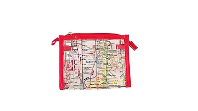 New York City Subwayline Clear Map Cosmetics Case, Red