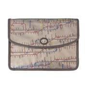 New York City Subwayline Envelope Clutch, Silver