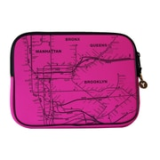 "New York City Subwayline Map Neoprene Sleeve for 13.9"" Laptops, Pink"