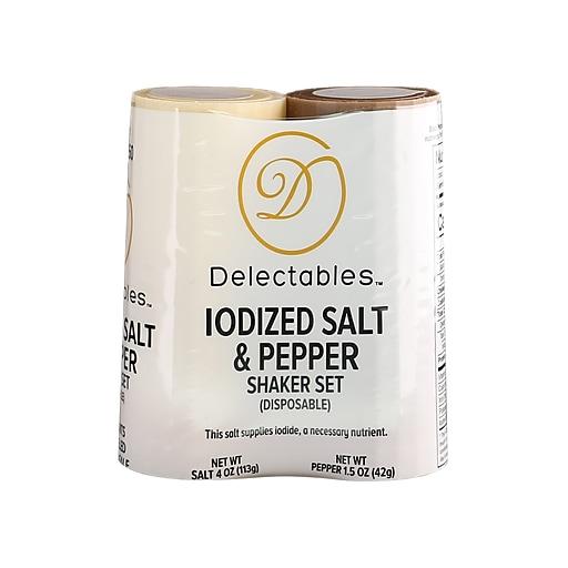 Del Disposable 4 oz Salt and 1.5 oz Pepper Shaker Combo Set, Pack of 2 (GRN13060)