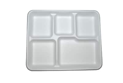 BioGreenChoice Compostable Fiber/Bagasse 5 Compart Tray, Off White, 10.5