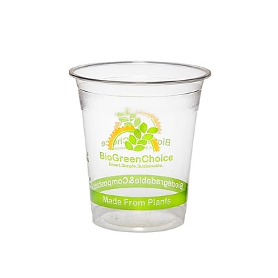 BioGreenChoice 7 oz. Clear Design Compostable PLA Cold Cup, 2000/Case