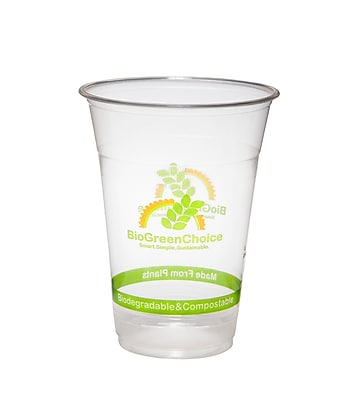 BioGreenChoice 16 oz. Clear Compostable PLA Cold Cup, 1000/CS