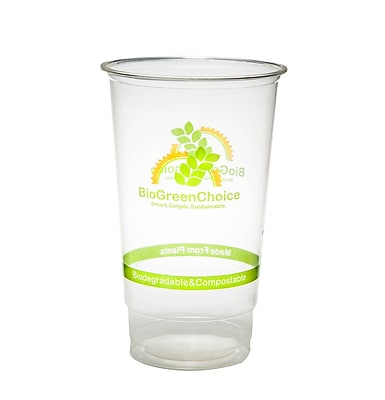 BioGreenChoice 24 oz. Clear Design Compostable PLA Cold Cup, 1000/Case
