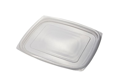 BioGreenChoice 24/32 oz. Clear Compostable PLA Rectangle Deli Lid, 600/Case