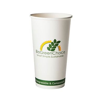 BioGreenChoice 20 oz. Design Compostable Hot Paper Cup W/Bio Lining, 1000/Case