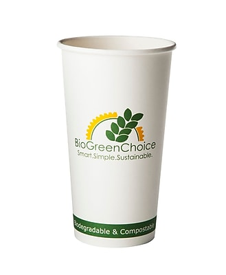 BioGreenChoice 20oz.Compostable Hot Paper Cup w/Bio Lining, 1000/CS