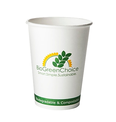 BioGreenChoice 32 oz. Design Compostable Hot Paper Bowl w/Bio Lining, 500/Case