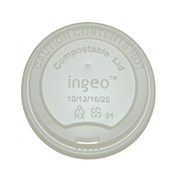 BioGreenChoice 10-20 oz. White Compostable Hot Paper Cup Lid, 1000/Case