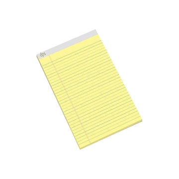"""Diversity Products Solutions by Staples 8.5"""" x 14"""" Wide Ruled Paper Pads, Canary, 50 Sheets/Pad, 12/Pack (DPS20005)"""