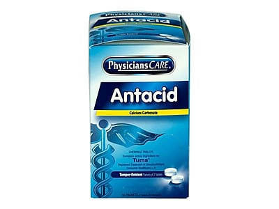 PhysiciansCare Antacid Chewable Tablets, 2/Packet, 50 Packets/Box (90089)