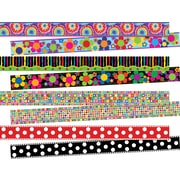 """Barker Creek 140' x 3"""", Retro, Double-Sided Trimmer Set, In The Groove, Multicolor, 4 Packs of 12 (SS0951)"""