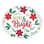 Amscan Christmas Wishes 12 in. Oval Plates, 3 Pack (592189)