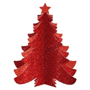Amscan Christmas 3D Red Glitter Tree Decorations, 3 Pack (242424)