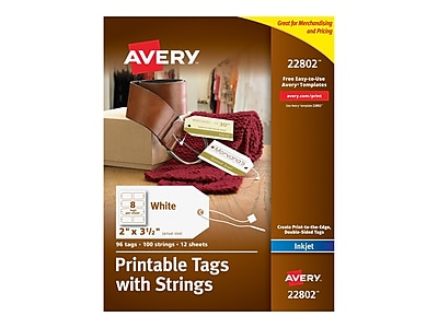 """Avery 3.5"""" Blank Price & Merchandise Tag, White, 96/Pack (22802)"""