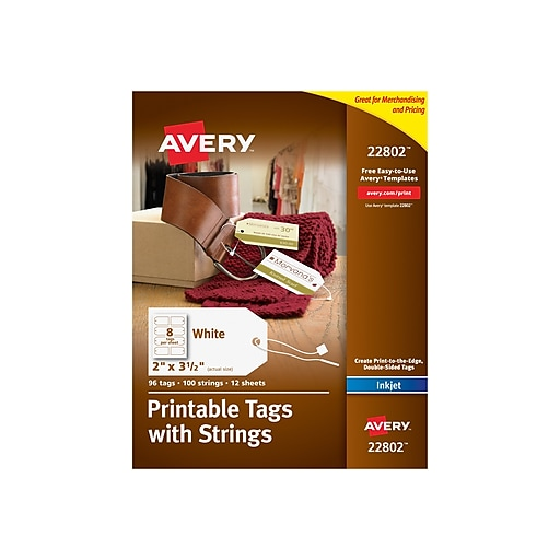 avery printable tags with strings 2 x 3 1 2 pack of 96 22802