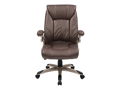 Office Star FL Series Faux Leather Manager Chair, Cocoa (FLH24981 U1)