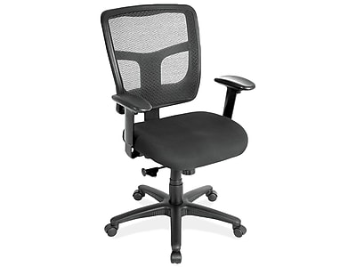 OfficeSource CoolMesh Fabric Task Chair, Black (7621AABLK)