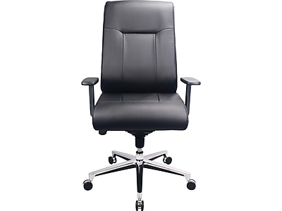 Tempur-Pedic TP1001 Leather Executive Chair, Silver and Black (TP1001-BLK)