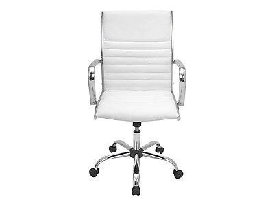 LumiSource Master Faux Leather Computer and Desk Chair, White (OFC-AC-MSTR W)