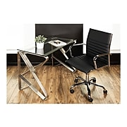LumiSource Master Faux Leather Computer and Desk Chair, Black (OFC-AC-MSTR BK)