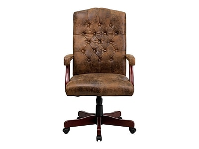 Fabric office chairs with arms Swivel Chair Flash Furniture Leather Executive Office Chair Fixed Arms Brown 802brn Staples Staples Flash Furniture Leather Executive Office Chair Fixed Arms Brown