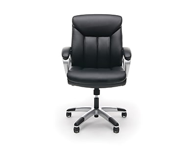 OFM Essentials Leather Executive Chair, Black and Silver (089191013860)